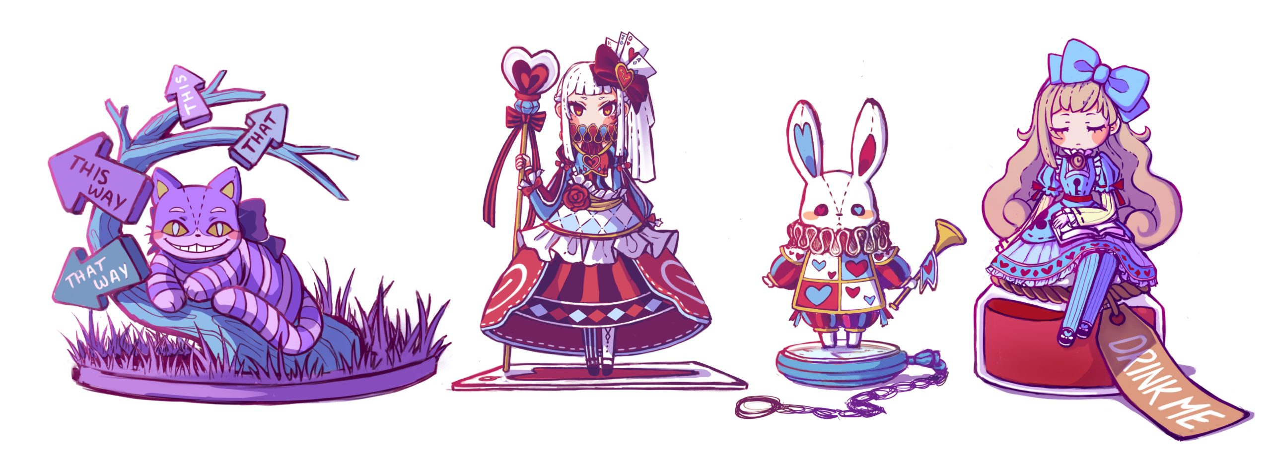 Toy figure collection concept - Alice in Wonderland theme